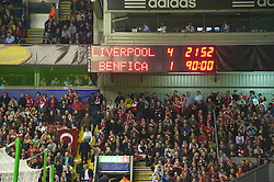 LIVERPOOL, ENGLAND - Thursday, April 8, 2010: The Anfield scoreboard records Liverpool's 4-1 victory over Sport Lisboa e Benfica (5-3 aggregate) during the UEFA Europa League Quarter-Final 2nd Leg match at Anfield. (Photo by: David Rawcliffe/Propaganda)