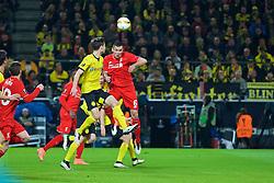 DORTMUND, GERMANY - Thursday, April 7, 2016: Liverpool's Dejan Lovren misses a chance against Borussia Dortmund during the UEFA Europa League Quarter-Final 1st Leg match at Westfalenstadion. (Pic by David Rawcliffe/Propaganda)