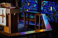 The Communion rail and altar with paraments on Wednesday, May 13, 2020, at St. Paul's Lutheran Church, Columbia, Ill. LCMS Communications/Erik M. Lunsford