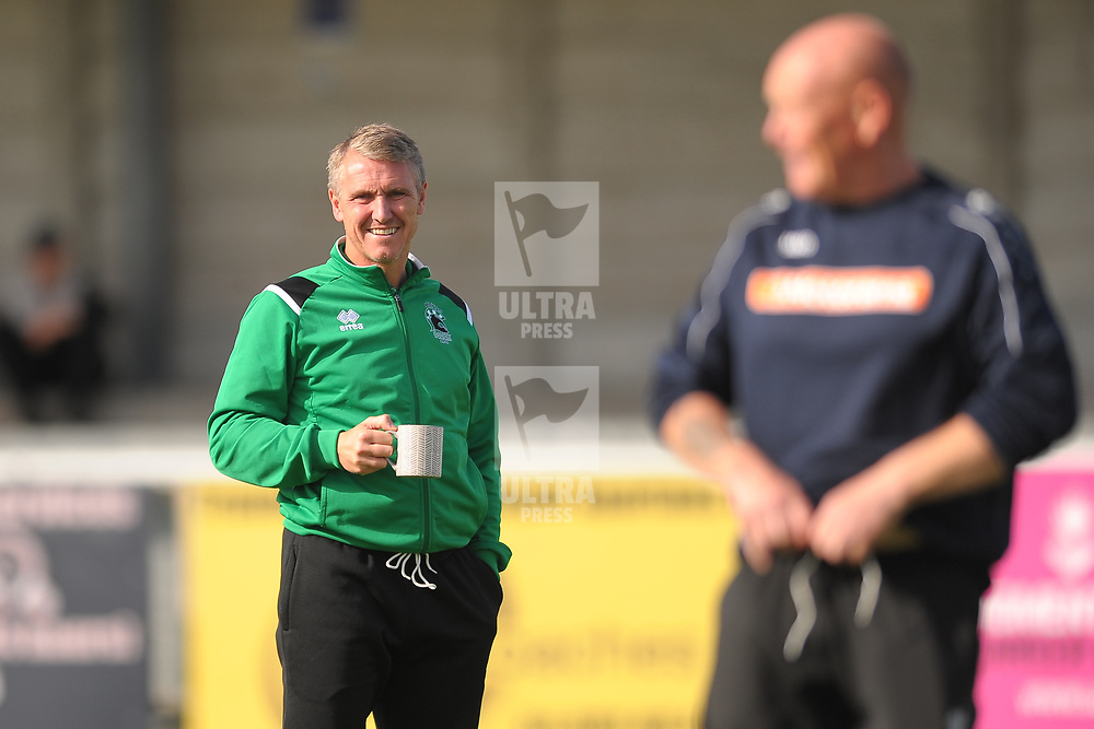 TELFORD COPYRIGHT MIKE SHERIDAN Blyth Spartans manager, former Newcastle and Sunderland footballer Lee Clark, in relaxed mood during the National League North fixture between Blyth Spartans and AFC Telford United at Croft Park on Saturday, September 28, 2019<br /> <br /> Picture credit: Mike Sheridan<br /> <br /> MS201920-023