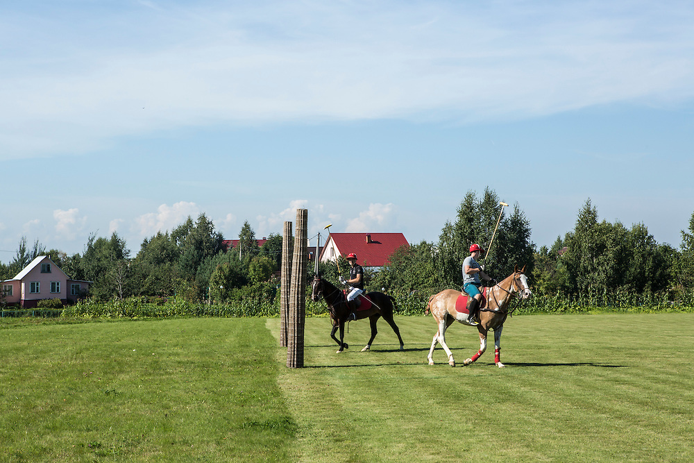Horses kept at Potapovo Farm are used to play polo on Sunday, August 18, 2013 in Potapovo, Russia.