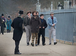 © Licensed to London News Pictures. 09/02/2017. London, UK. Extras in period costume are seen next to the Thames during filming of the new Sherlock Holmes movie 'Holmes and Watson' at Hampton Court. Photo credit: Peter Macdiarmid/LNP
