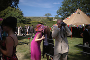 Lucy Gormanston ( Fox) in pink and Charles Dance. Marriage of Emilia Fox to Jared Harris. St. Michael's and All Angels. Steeple. Nr. Wareham. Dorset. 16 July 2005. ONE TIME USE ONLY - DO NOT ARCHIVE  © Copyright Photograph by Dafydd Jones 66 Stockwell Park Rd. London SW9 0DA Tel 020 7733 0108 www.dafjones.com