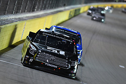 March 1, 2019 - Las Vegas, NV, U.S. - LAS VEGAS, NV - MARCH 01: Kyle Busch (51) Kyle Busch Motorsports (KBM) Toyota Tundra leads Brett Moffitt (24) Gallagher Motor Sports (GMS) Chevrolet Silverado into turn three during the NASCAR Gander Outdoors Truck Series The Strat 200 on March 1, 2019, at Las Vegas Motor Speedway in Las Vegas, Nevada. (Photo by Michael Allio/Icon Sportswire) (Credit Image: © Michael Allio/Icon SMI via ZUMA Press)