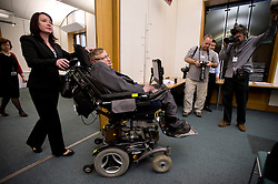 © London News Pictures. 30/04/2013. London, UK. Professor Stephen Hawking arriving at the launch of a report by the charity Breathe On UK at Portcullis House in London on April 30, 2013. Breathe On UK supports families of children on long-term ventilation. Photo credit: Ben Cawthra/LNP.