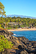 Kaunaoa Beach, Mauna Kea Beach and Resort, Mauna Kea in Background, Kohala Coast, Island of Hawaii