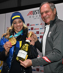 16.02.2018, Austria House, Pyeongchang, KOR, PyeongChang 2018, Medaillenfeier, im Bild Frida Hansdotter, Peter Mennel // during a medal celebration of the Pyeongchang 2018 Winter Olympic Games at the Austria House in Pyeongchang, South Korea on 2018/02/16. EXPA Pictures © 2018, PhotoCredit: EXPA/ Erich Spiess