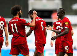 LIVERPOOL, ENGLAND - Sunday, July 26, 2020: Liverpool's Sadio Mané (C) celebrates after scoring the third goal during the final match of the FA Premier League season between Newcastle United FC and Liverpool FC at St. James' Park. The game was played behind closed doors due to the UK government's social distancing laws during the Coronavirus COVID-19 Pandemic. Liverpool won 3-1 and finished the season as Champions on 99 points. (Pic by Propaganda)