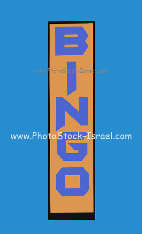 Illustration of a BINGO sign on a sky blue background