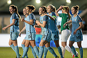 Manchester City players celebrate Lucy Bronze's (Manchester City Women's Football Club) goal. City open the scoring and lead 1-0 during the UEFA Womens Champions League quarter final second leg match between Manchester City Women and DBK Fortuna Hjorring at the Sport City Academy Stadium, Manchester, United Kingdom on 30 March 2017. Photo by Mark P Doherty.