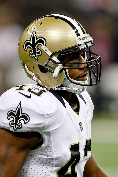 October 7, 2012; New Orleans, LA, USA; New Orleans Saints running back Darren Sproles (43) prior to kickoff of a game against the San Diego Chargers at the Mercedes-Benz Superdome. Mandatory Credit: Derick E. Hingle-US PRESSWIRE