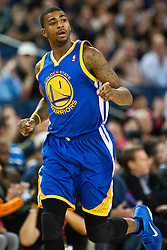 October 29, 2010; Oakland, CA, USA;  Golden State Warriors small forward Dorell Wright (1) after making a basket against the Los Angeles Clippers during the first quarter at Oracle Arena. The Warriors defeated the Clippers 109-91.