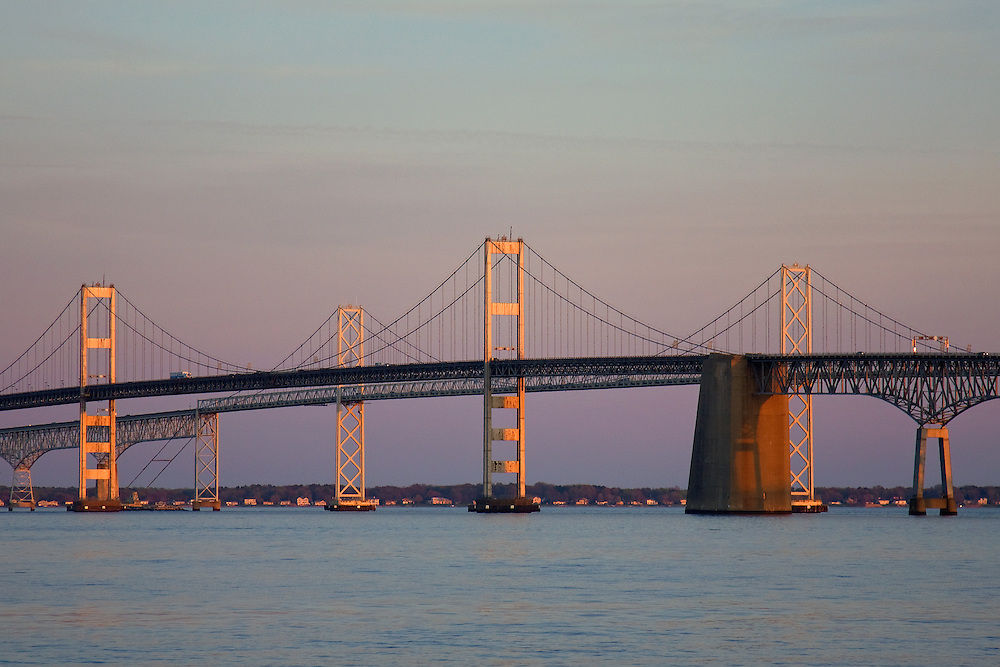 The Chesapeake Bay Bridge at sunset as seen from Sandy Point State Park in Maryland