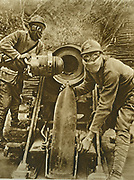 A present for the Boches (the Germans) : Loading a French howitzer. World War 1.