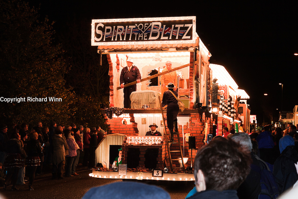 Spirit of the Blitz, by Huckyduck CC at North Petherton Guy Fawkes Carnival. Winner of the Tableau Open class and overall winner of the Tableau classes in the Somerset Cup.