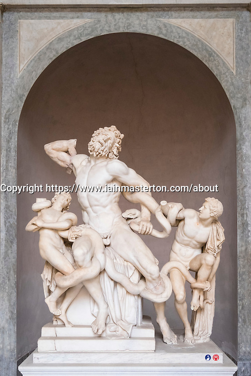 The Laocoön group sculpture at the Vatican Museum in Rome, Italy
