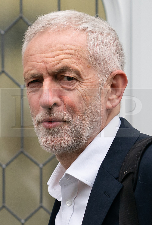 © Licensed to London News Pictures. 08/04/2019. London, UK. Leader of the Labour Party Jeremy Corbyn leaves home this morning. Cross-party talks between the Conservative government and Labour opposition are set to continue this week, with the aim of reaching a conclusion for Britain's exit from the European Union. Photo credit : Tom Nicholson/LNP