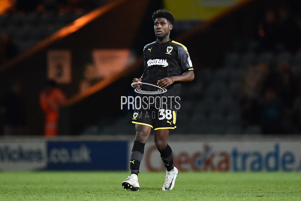 Ethan Nelson-Roberts (38) of AFC Wimbledon during the EFL Trophy match between Yeovil Town and AFC Wimbledon at Huish Park, Yeovil, England on 5 December 2017. Photo by Graham Hunt.