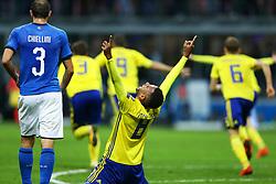 November 13, 2017 - Milan, Italy - Isaac Kiese Thelin of Sweden celebrating the qualification at San Siro Stadium in Milan, Italy on November 13, 2017. (Credit Image: © Matteo Ciambelli/NurPhoto via ZUMA Press)
