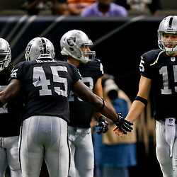 Aug 16, 2013; New Orleans, LA, USA; Oakland Raiders quarterback Matt Flynn (15) celebrates with fullback Marcel Reece (45) after throwing a touchdown during the second quarter of a preseason game at the Mercedes-Benz Superdome. Mandatory Credit: Derick E. Hingle-USA TODAY Sports