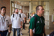 Master's in Athletic Administration students in PIng Center during a walking tour of campus on Friday, June 26, 2015. © Ohio University / Photo by Rob Hardin