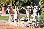 Sardana dancers statue in Barcelona, Spain