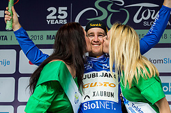 Benjamin Hill of Ljubljana Gusto Xaurum celebrates in blue jersey as best in mountain classification during trophy ceremony after the 1st Stage of 25th Tour de Slovenie 2018 cycling race between Lendava and Murska Sobota (159 km), on June 13, 2018 in  Slovenia. Photo by Vid Ponikvar / Sportida