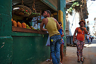 A small produce stand in a corner at the streets of la Habana Vieja