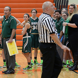 Staff photos by Tom Kelly IV<br /> Shanahan's head coach looks on after being given a technical foul during the Bishop Shanahan at Marple Newtown girls basketball game, during the 7th annual holiday tournament on Saturday, December 27, 2014.