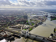 Nederland, Zuid-Holland, Dordrecht, 25-02-2020; Oude Maas, met Spoorbrug Dordrecht (Grote brug) tussen Dordrecht (links) en Zwijndrecht. Zicht op havens van Dordrecht, met water van het Malle Gat en de Dordtsche Kil. Aan de verre horizon het Hollandsch Diep.<br /> Oude Maas (old Meuse), with Railway Bridge Dordrecht between Dordrecht (left) and Zwijndrecht. View of the ports of Dordrecht, river Dordtsche Kil and Hollandsch Diep is on the horizon.<br /> <br /> luchtfoto (toeslag op standard tarieven);<br /> aerial photo (additional fee required)<br /> copyright © 2020 foto/photo Siebe Swart