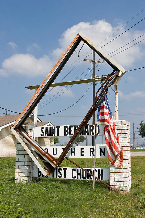 Welcome sign to St. Berndard destroyed by Hurricane Katirna