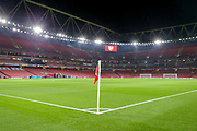General stadium view inside the Emirates Stadium, corner flag, before the Europa League match between Arsenal and Eintracht Frankfurt at the Emirates Stadium, London, England on 28 November 2019.