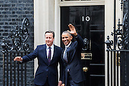 United States President Barak Obama is welcomed at 10 Downing Street in London by British Prime Minister David Cameron.<br /> Picture by Paul Davey/Focus Images Ltd +447966 016296<br /> 22/04/2016