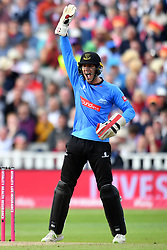 Sussex Sharks' Michael Burgess celebrates as Danny Briggs runs out Somerset's Tom Abell during the Vitality T20 Blast Semi Final match on Finals Day at Edgbaston, Birmingham.