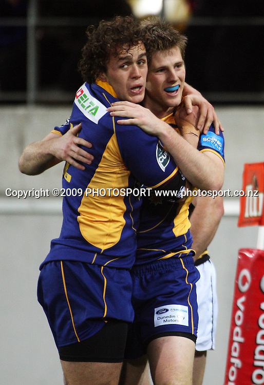 Otago second five Andrew Parata congratulates Chris Noakes for scoring in the corner.<br /> Air NZ Cup Ranfurly Shield match - Wellington Lions v Otago at Westpac Stadium, Wellington, New Zealand. Friday, 31 July 2009. Photo: Dave Lintott/PHOTOSPORT