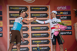 March 24, 2019 - Sanremo, Sanremo, Italy - Oliver Naesen of AG2R La Mondiale (L) second and Michal Kwiatkowski of Team Sky, third (R) are seen on the podium during the 110th edition of Milan - Sanremo, cycling race. (Credit Image: © Puletto  Diego/SOPA Images via ZUMA Wire)