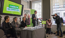 © Licensed to London News Pictures. 24/02/2015. London, UK. (L-R) , Caroline Lucas, MP for Brighton Pavillion, Jenny Jones AM Baroness Jones of Moulsecoomb. Natalie Bennet, Leader of the Green Party, Darren Hall (at lecturn) , PCC for Bristol West.  The Green Party Campaign Launch ahead of the UK general election at RSA House in Central London today 24th February 2015. Photo credit : Stephen Simpson/LNP