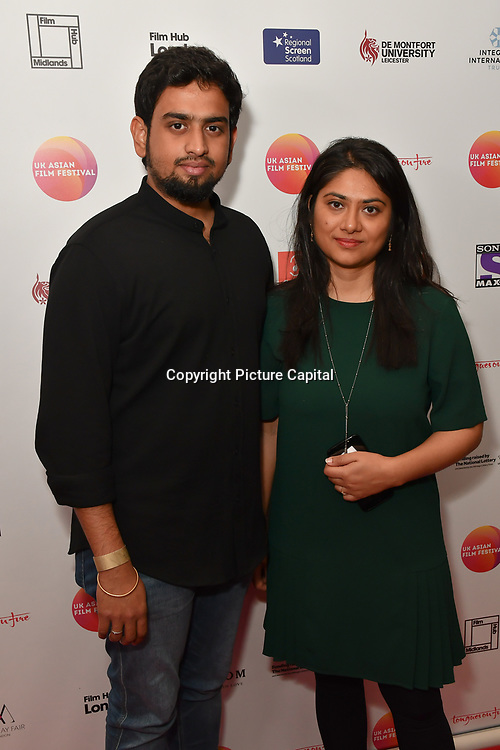 Sriram Raja,Deyali Mukherjee is a producer attends the UK Asian Film Festival closing flame awards gala - Red Carpet at BAFTA 195 Piccadilly, on 7 April 2019, London, UK