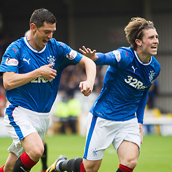 Graham Dorrans of Rangers celebrates with Josh Windass after opening the scoring, Motherwell v Rangers, Scottish Premiership, 6 August 2017 . (c) Adam Oliver | sportPix.org.uk