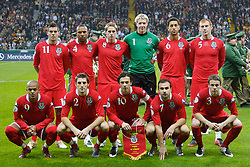 FRANKFURT, GERMANY - Wednesday, November 21, 2007: Wales players line-up for a team-photograph before the final UEFA Euro 2008 Qualifying Group D match against Germany at the Commerzbank Arena. Back row (L-R) Joseph Ledley, Daniel Gabbidon, David Edwards, goalkeeper Wayne Hennessey, Lewin Nyatanga, James Collins. Front row (L-R) Robert Earnshaw, Sam Ricketts, captain Simon Davies, Carl Fletcher, Chris Gunter. (Pic by David Rawcliffe/Propaganda)