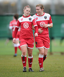 Bristol Academy's Grace McCatty and Bristol Academy's Nikki Watts  - Photo mandatory by-line: Joe Meredith/JMP - Mobile: 07966 386802 - 01/03/2015 - SPORT - Football - Bristol - SGS Wise Campus - Bristol Academy Womens FC v Aston Villa Ladies - Women's Super League