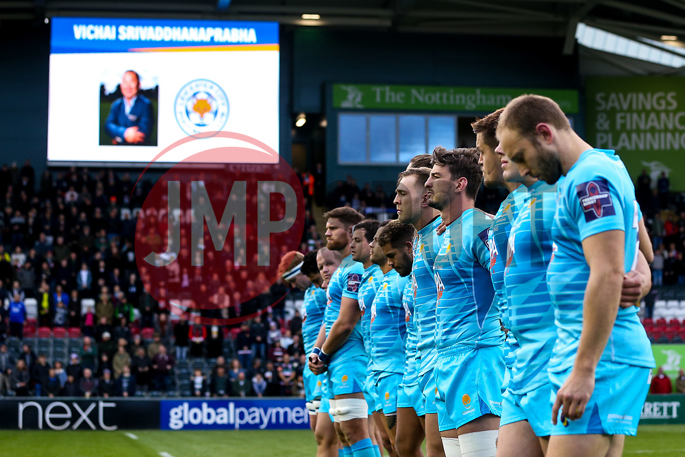 Worcester Warriors take part in a minutes silence in tribute to Leicester City Chairman Vichai Srivaddhanaprabha who passed away in a helicopter crash - Mandatory by-line: Robbie Stephenson/JMP - 03/11/2018 - RUGBY - Welford Road Stadium - Leicester, England - Leicester Tigers v Worcester Warriors - Gallagher Premiership Rugby