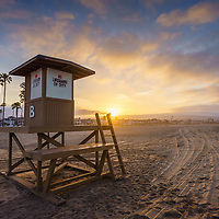 Newport Beach California Lifeguard Tower B sunrise photo.  Newport Beach is a popular coastal city along the Pacific Ocean in Southern California. Photo is high resolution. Copyright ⓒ 2017 Paul Velgos with All Rights Reserved.