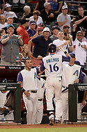 PHOENIX, AZ - APRIL 27:  Chris Owings #16 of the Arizona Diamondbacks is congratulated by David Peralta #6 after hitting a solo homer in the third inning against the San Diego Padres at Chase Field on April 27, 2017 in Phoenix, Arizona.  (Photo by Jennifer Stewart/Getty Images)