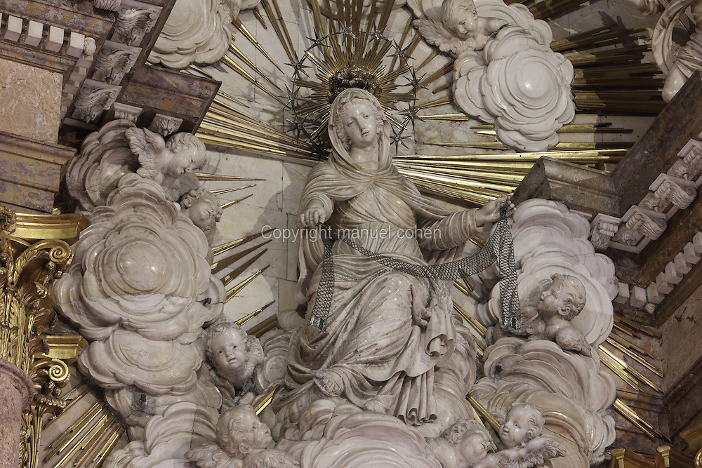 Sculpture of Mare Deu de la Cinta, patron of the city, in the Capella de la Santa Cinta, built 1672-1725 in Baroque style, in the Cathedral of St Mary, designed by Benito Dalguayre in Catalan Gothic style and begun 1347 on the site of a Romanesque cathedral, consecrated 1447 and completed in 1757, Tortosa, Catalonia, Spain. The cathedral has 3 naves with chapels between the buttresses and an ambulatory with radial chapels. Picture by Manuel Cohen