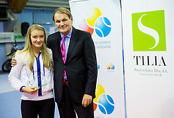 Nina Potocnik and Marko Umberger, president of TZS at Tennis exhibition day and Slovenian Tennis personality of the year 2013 annual awards presented by Slovene Tennis Association TZS, on December 21, 2013 in BTC City, TC Millenium, Ljubljana, Slovenia.  Photo by Vid Ponikvar / Sportida