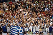 DESCRIZIONE : BELGRADO SERBIA CAMPIONATO MASCHILE EUROPEO 2005 <br /> GIOCATORE : TIFOSI GRECIA<br /> SQUADRA : GRECIA<br /> EVENTO : CAMPIONATO MASCHILE EUROPEO 2005 <br /> GARA : GRECIA-GERMANIA<br /> DATA : 25/09/2005 <br /> CATEGORIA : tifosi<br /> SPORT : Pallacanestro <br /> AUTORE : Agenzia Ciamillo-Castoria