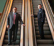 UBM Elevator Solutions President Freddy Flores (right) and CEO James S. Cabrera are photographed at Navy Pier in Chicago  on Thursday, April 18th. © 2013 Brian J. Morowczynski ViaPhotos