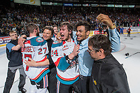 KELOWNA, CANADA - MAY 13: Tyson Baillie #24 and Tyrell Goulbourne #12 of Kelowna Rockets celebrate the WHL Championship title against the Brandon Wheat Kings  on May 13, 2015 during game 4 of the WHL final series at Prospera Place in Kelowna, British Columbia, Canada.  (Photo by Marissa Baecker/Shoot the Breeze)  *** Local Caption *** Tyson Baillie; Tyrell Goulbourne;