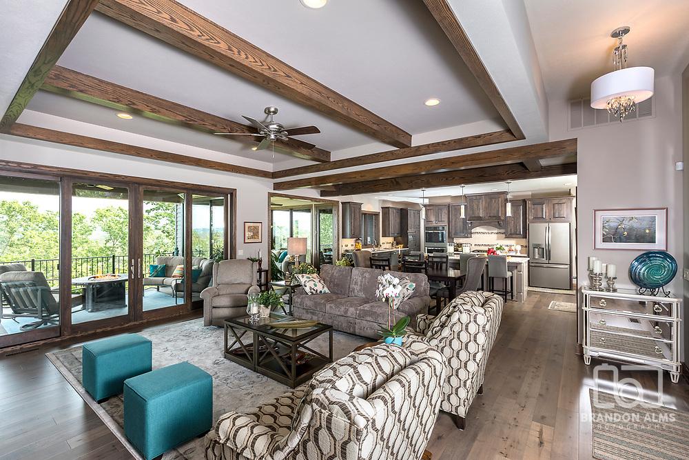 Modern living room at a lake house